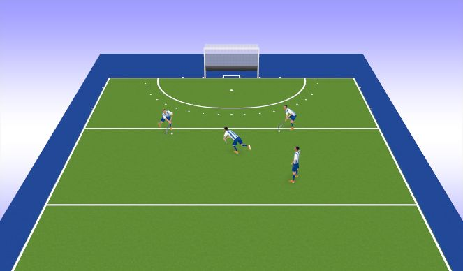 Hockey Session Plan Drill (Colour): Stick & Ball Warm Up - Passing Square