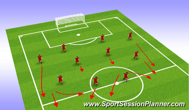 Football/Soccer Session Plan Drill (Colour): Away Team Shape u21 Shape