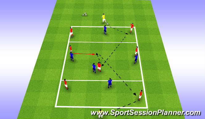 Football/Soccer Session Plan Drill (Colour): Playing through the lines