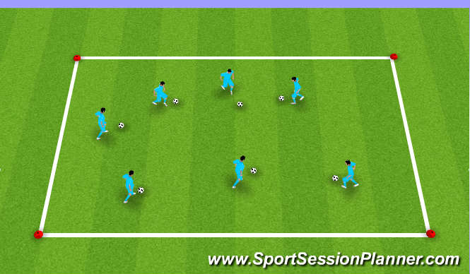Football/Soccer Session Plan Drill (Colour): Dribbling Warm Up
