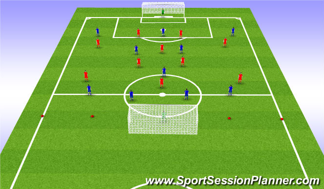 Football/Soccer Session Plan Drill (Colour): 11 vs. 11