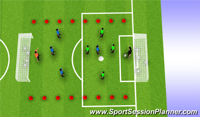 Football/Soccer Session Plan Drill (Colour): King's Court Game With Focus on Shooting