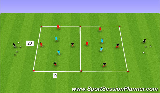 Football/Soccer Session Plan Drill (Colour): 4 v 2