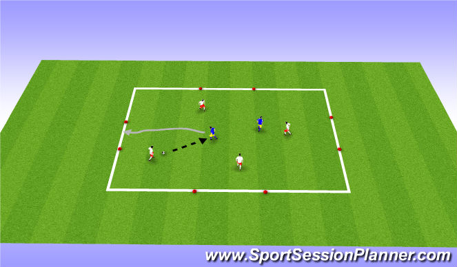 Football/Soccer Session Plan Drill (Colour): 4v2 with counter goals