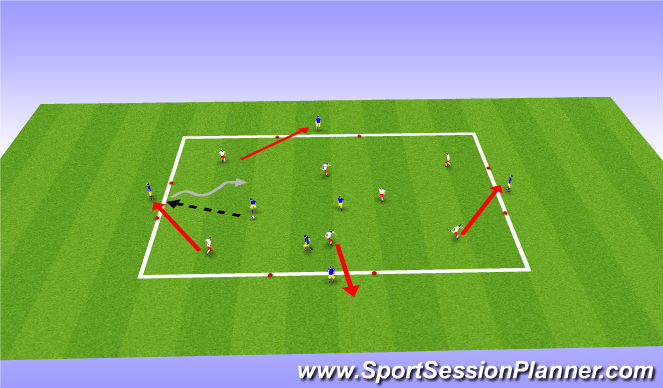 Football/Soccer Session Plan Drill (Colour): 7v3 with counter goals