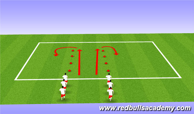 Football/Soccer Session Plan Drill (Colour): Dynamic Warmup - FIFA 11+
