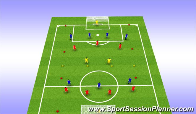 Football/Soccer Session Plan Drill (Colour): 7 vs 7 + 2