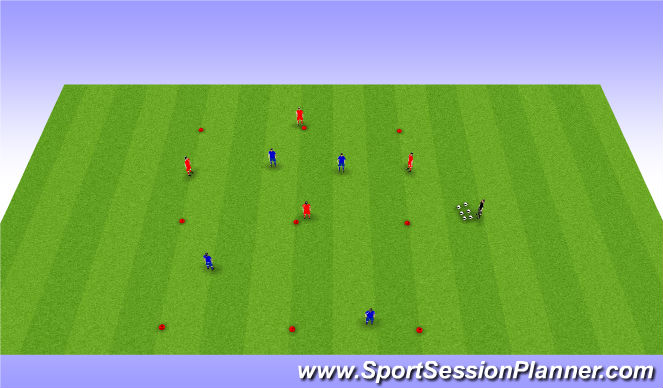 Football/Soccer Session Plan Drill (Colour): 4 vs 2 + 2 targets
