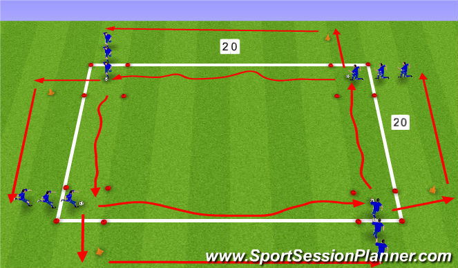Football/Soccer Session Plan Drill (Colour): Speed - With/Without ball