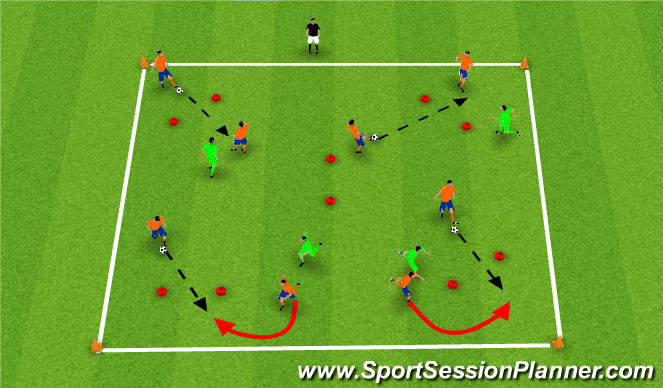 Football/Soccer Session Plan Drill (Colour): Extended Small Sided Activity (Passing)