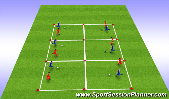 Football/Soccer Session Plan Drill (Colour): Game 1: 1v1