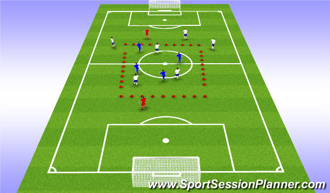 Football/Soccer Session Plan Drill (Colour): 6v6+2 Rondo
