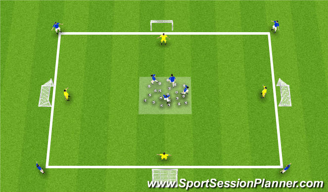 Football/Soccer Session Plan Drill (Colour): 1v1 Continous