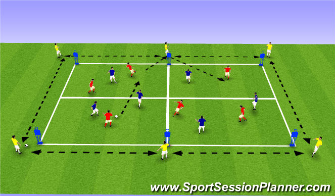 Football/Soccer Session Plan Drill (Colour): Possession. Pass & Move with & without the Ball