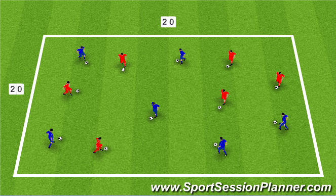 Football/Soccer Session Plan Drill (Colour): Warm Up - Mastering the move