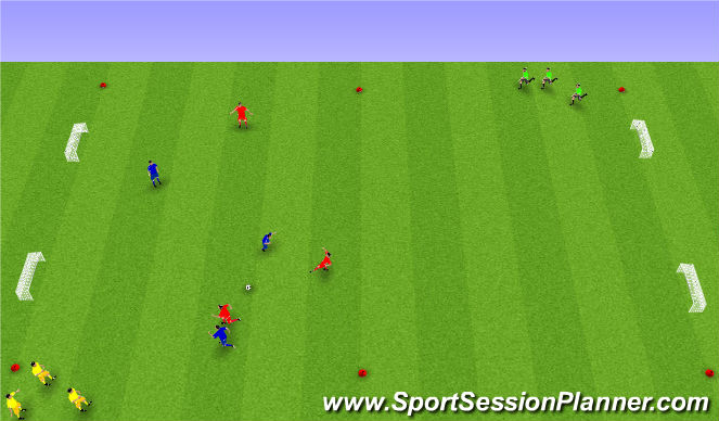 Football/Soccer Session Plan Drill (Colour): 3 á 3 + 2x3 sem hlaupa.