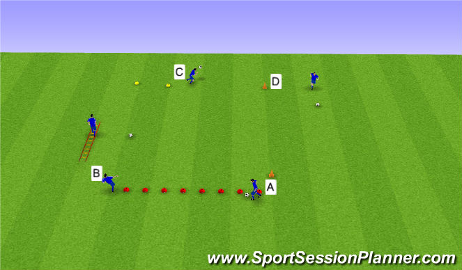 Football/Soccer Session Plan Drill (Colour): Hraða- og tækniæfingar