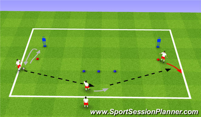 Football/Soccer Session Plan Drill (Colour): Switching play 1
