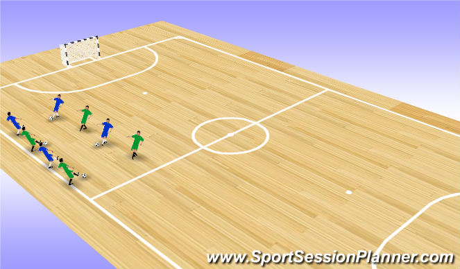 Futsal Session Plan Drill (Colour): Screen 1 (2 x 3')