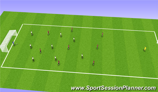 Football/Soccer Session Plan Drill (Colour): 8v8/9v9 Game