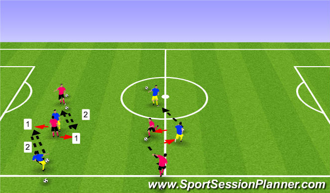 Football/Soccer Session Plan Drill (Colour): Passing/Recieving Fitness