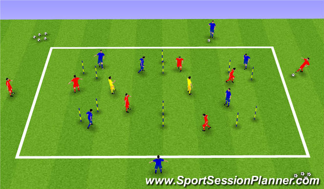 Football/Soccer Session Plan Drill (Colour): Technical First Touch / Awareness