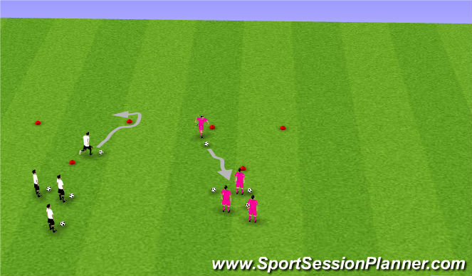Football/Soccer Session Plan Drill (Colour): Footwork - Triangle