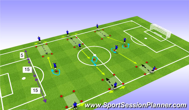 Football/Soccer Session Plan Drill (Colour): Propellers