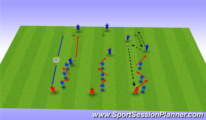 Football/Soccer Session Plan Drill (Colour): Passing Drill - Dribble / Pass and Move