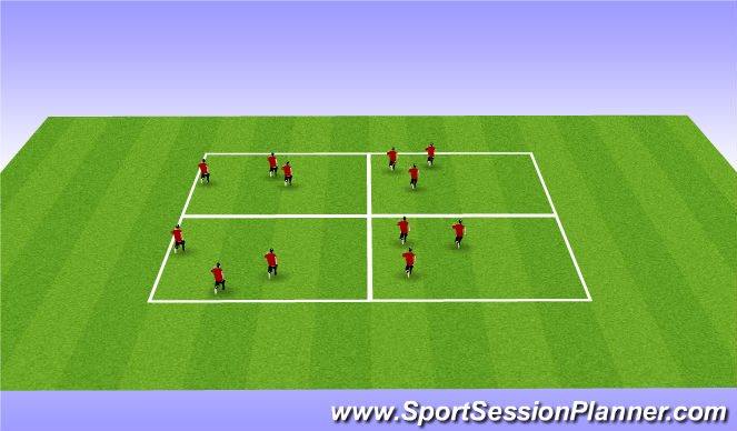 Football/Soccer Session Plan Drill (Colour): passing grid warm-up