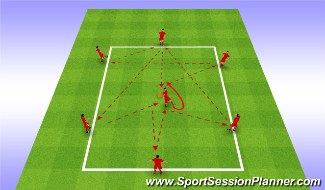 Football/Soccer Session Plan Drill (Colour): Passing Pattern Long and Short