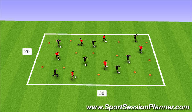 Football/Soccer Session Plan Drill (Colour): Warm up, Ball Manip