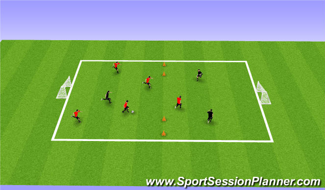 Football/Soccer Session Plan Drill (Colour): SSG Attackers vs Dribblers