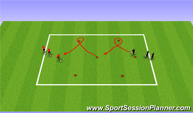 Football/Soccer Session Plan Drill (Colour): Zig Zag Dribbling
