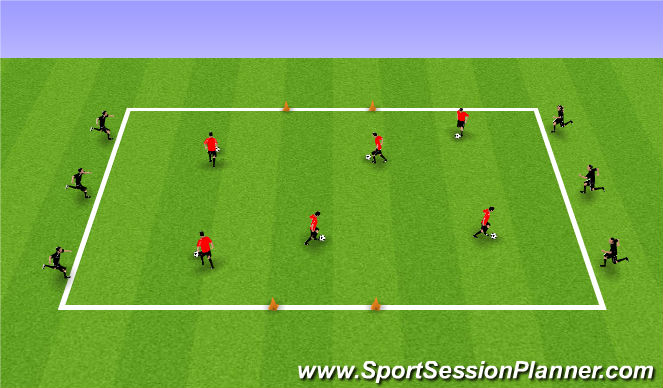 Football/Soccer Session Plan Drill (Colour): SSG Multi ball 1v1 game