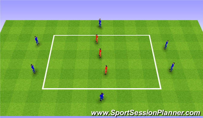 Football/Soccer Session Plan Drill (Colour): 8v3