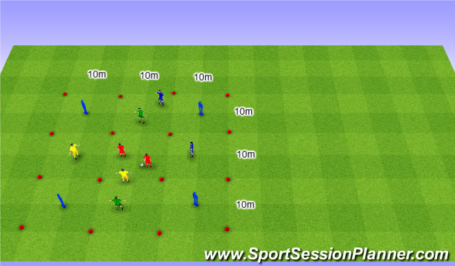 Football/Soccer Session Plan Drill (Colour): Interval 4 team game. Gra interwałowa na 4 Drużyny.