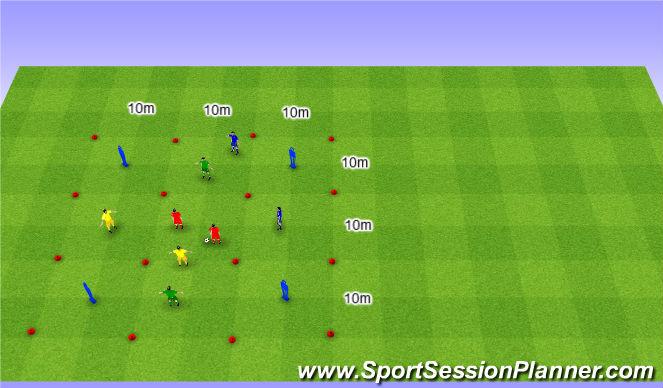 Football/Soccer Session Plan Drill (Colour): Interval 4 team game. Gra interwałowa na 4 Drużyny.