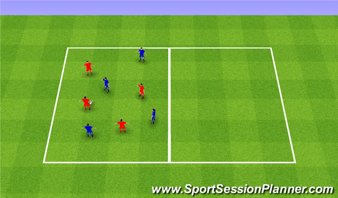 Football/Soccer Session Plan Drill (Colour): 3 passes game. Gra 3 podania i zmiana pola.