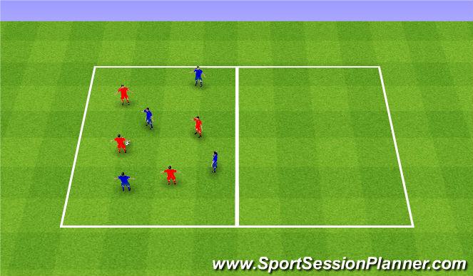 Football/Soccer Session Plan Drill (Colour): 3 passes game. Gra 3 podania i zmiana pola.