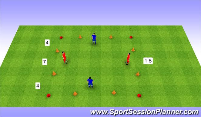 Football/Soccer Session Plan Drill (Colour): 2v2 with 4 goals. 2v2 na 4 bramki.