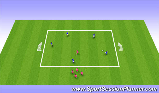 Football/Soccer Session Plan Drill (Colour): Keep ball 5v1/5v2
