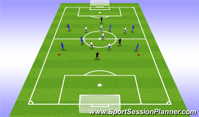 Football/Soccer Session Plan Drill (Colour): 6v6+3 Rondo in midfield