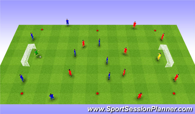 Football/Soccer Session Plan Drill (Colour): Interval game 4v4+4. Gra interwałowa z bokami.