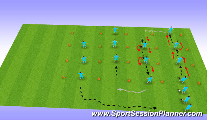 Football/Soccer Session Plan Drill (Colour): Screen 1  Overhit pass and Turn