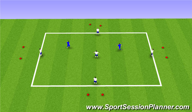 Football/Soccer Session Plan Drill (Colour): 5v2 with counter goals