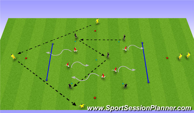 Football/Soccer Session Plan Drill (Colour): Diamond, Dribble, Five