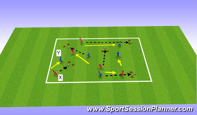 Football/Soccer Session Plan Drill (Colour): Tech   (IFR)