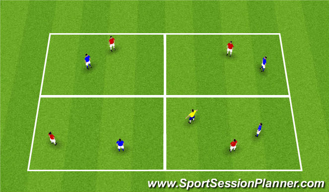 Football/Soccer Session Plan Drill (Colour): 4v4 + 1 possession game