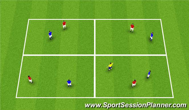 Football/Soccer Session Plan Drill (Colour): 4v4 + 1 possession game